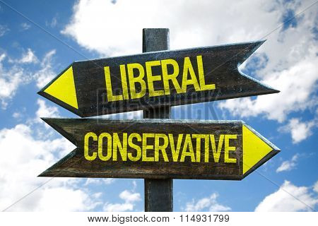 Liberal - Conservative signpost with sky background