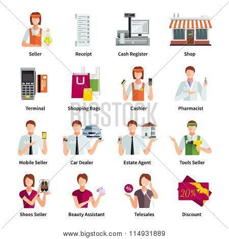 Salesman Flat Color Icons Set