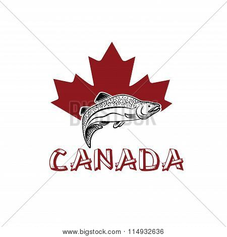 Jumping Fish On The Background Of Canadian Maple Leaf