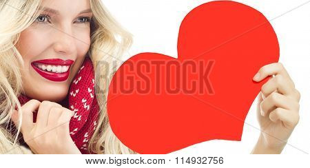 attractive young caucasian woman in warm scarf  studio shot isolated on white smiling red lips face skin red heart valentine's love