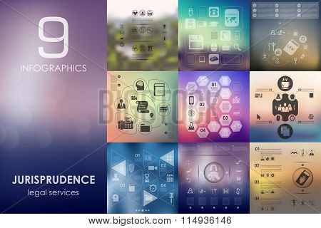 jurisprudence infographic with unfocused background