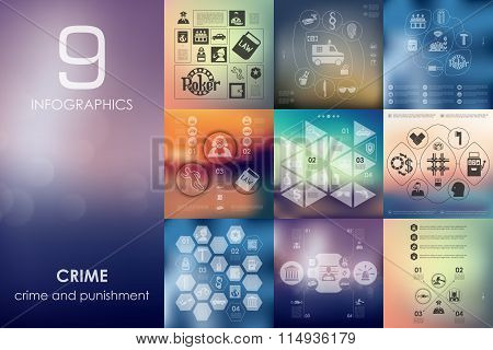 crime infographic with unfocused background