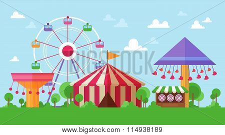 Flat Retro Funfair Scenery With Amusement Attractions