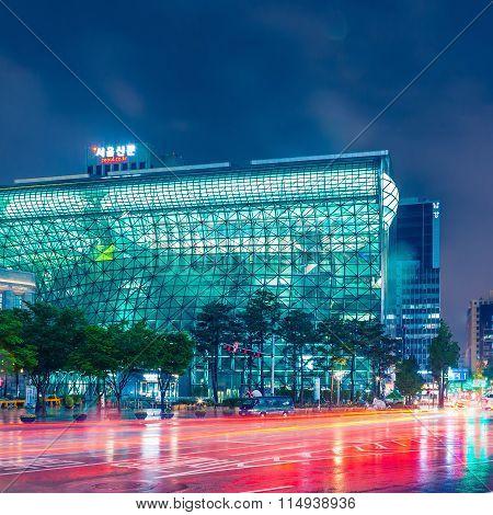 Seoul, South Korea - August 16, 2015: Building Of New City Hall Of Seoul Metropolitan Government Sho