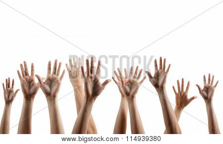 Many people's hands up isolated on white background. Various han