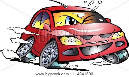 Vector Cartoon Illustration Of A Red Sports Car Mascot Racing In Full Speed