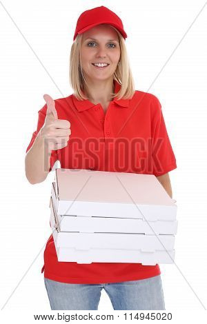 Pizza Delivery Woman Order Delivering Thumbs Up Job Young Isolated
