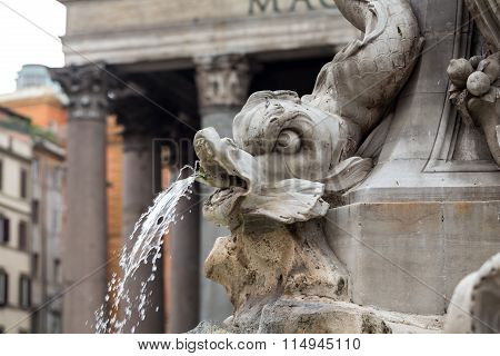 Close up of Fountain of the Pantheon (Fontana del Pantheon) at Piazza della Rotonda .. Rome Italy