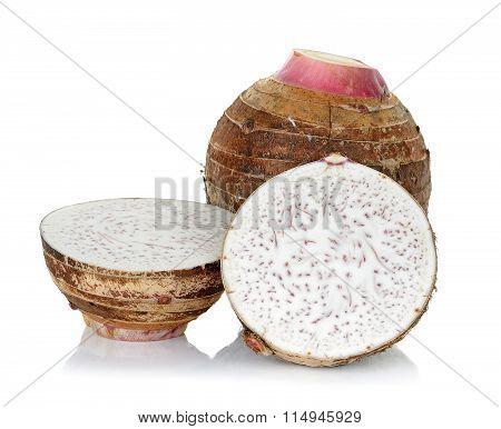 Close Up Taro Isolated On The White Background