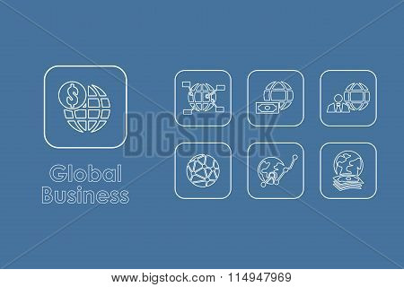 Set of global business simple icons