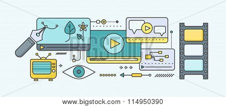 Concept of distance learning and education. Online tutorial and video course, research and graduation, science and webinar, digital elearning, test and literature. Set of thin, lines flat icons poster