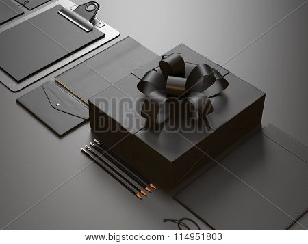 Closeup of modern business elements on the black background. 3d render