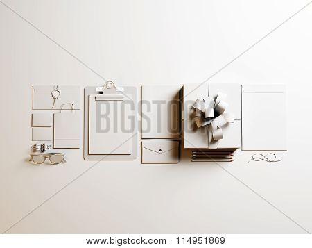 Set of white branding elements on the light background. 3d render