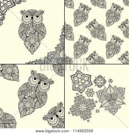 Vector illustration of ornamental owl. Bird illustrated in tribal. Set of ornamental owls with flowe