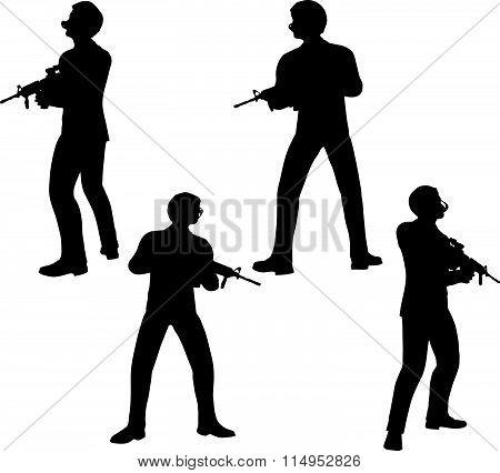 Businessman Soldier Stand