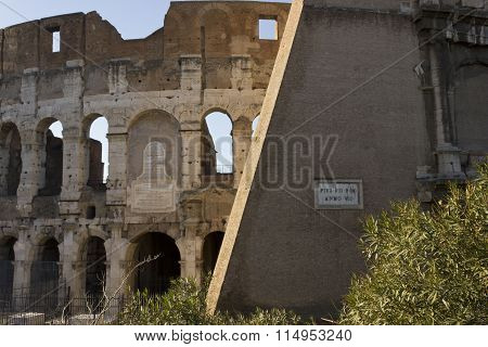 Close Up Detail Of The External Walls Of Colosseum