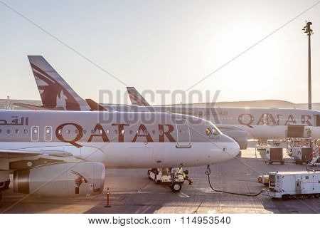 Qatar Airways Airplanes At The Qatar International Airport
