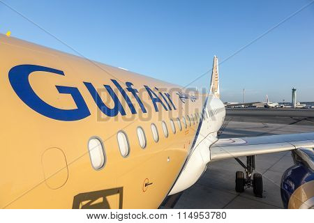 Gulf Air Aircraft At The Qatar International Airport