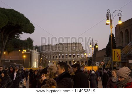 Crowd Of People In Via Del Colosseo