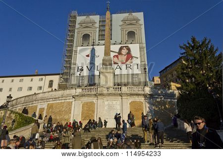 Day View Of The Spanish Steps Of Piazza Di Spagna, Rome