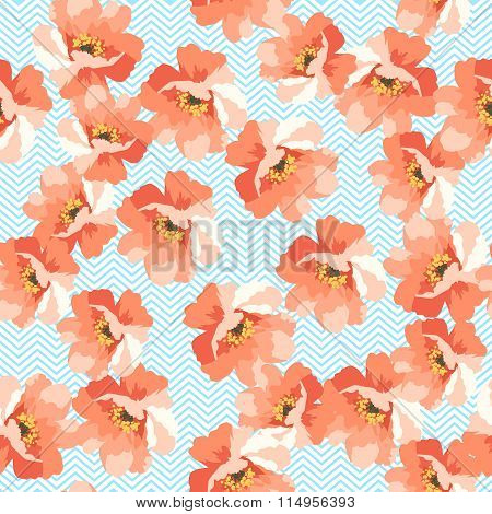 Seamless Floral Patter With Blue Flowers