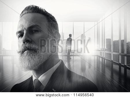 BW portrait of bearded businessman and meeting room on the background. Double exposure.