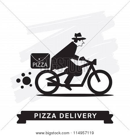 Delivery service of pizza with cartoon character. Pizza delivery service. Fast food delivery. Special transport for delivery pizza. Order pizza. Silhouette pizza delivery man.