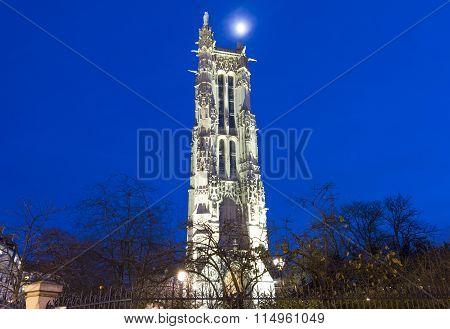 Saint Jacques Tower In Evening, Paris, France.