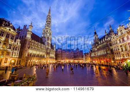 BRUSSELS, BELGIUM - 11 AUGUST, 2015: Stunning photo of spectacular Gran Place main square during bea