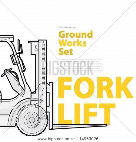 Forklift - Catalog page. Black and white wire set of ground works machine vehicle with typography.