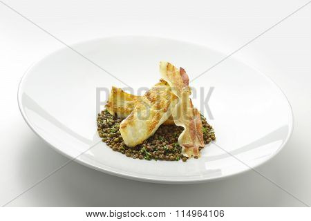 Turbot Fillet With Lentils And Crispy Bacon