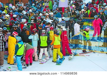 Queue At Ski Resort
