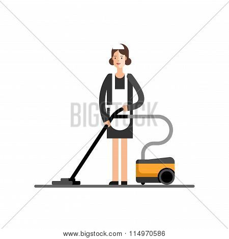 Cleaning Company Maid Service Cleaning Womans in Classic Maid Dress