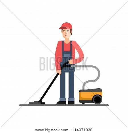 Cleaning Company Service Man Vacuum Cleaner Cleaning