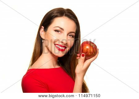 Woman Eating Red Apple Fruit Smiling Isolated On White Background Posing