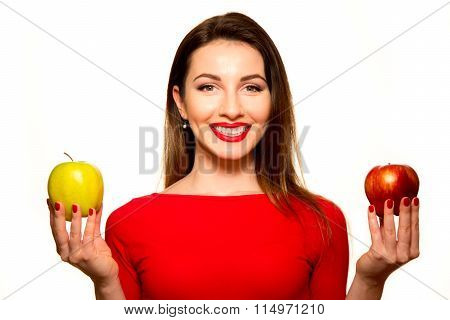 Woman Holding Red And Green Apple Fruit Smiling Isolated On White Background Looking At Camera