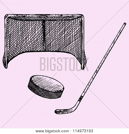 set of ice hockey elements