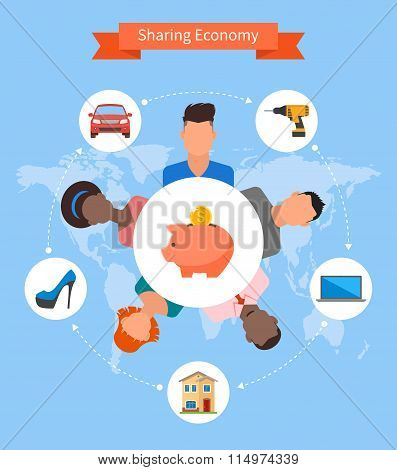 Sharing economy and smart consumption concept. Vector illustration in flat style.