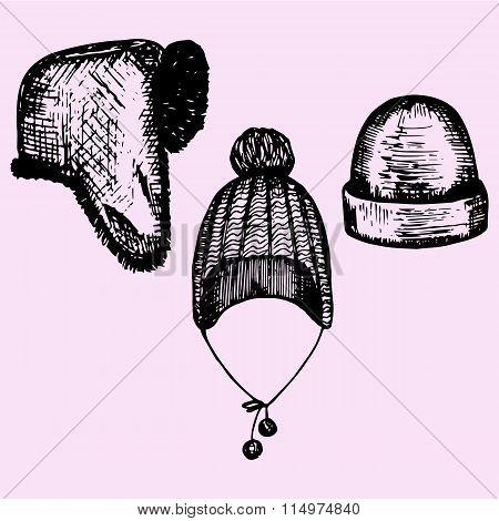 set of winter hats, headwear