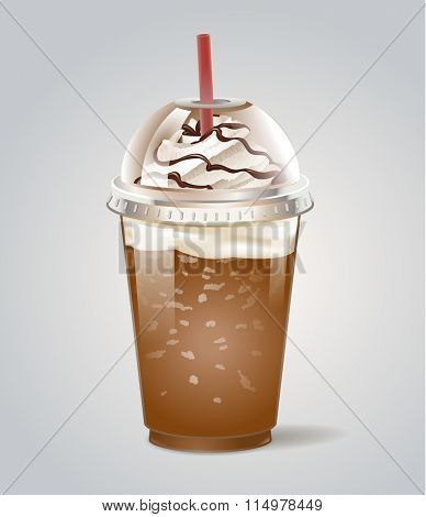 Iced coffee takeaway icon. Vector illustration.