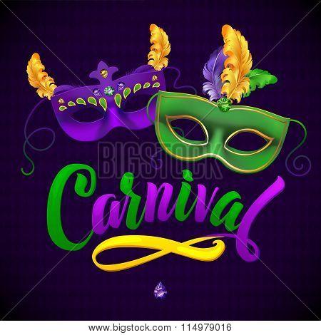 Mardi Gras Carnival Calligraphy Invitation Poster.Vector illustration Template