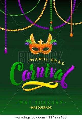 Mardi Gras Carnival Calligraphy Invitation Poster.  Vector illustration Template