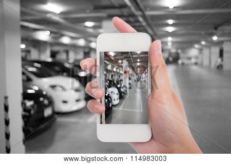 Blur Image, Underground Parking With Cars.