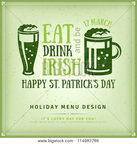 Beer Party Invitation, Irish Typography Emblem