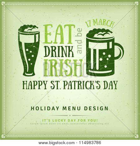 Beer Party Invitation, Irish Typography Emblem