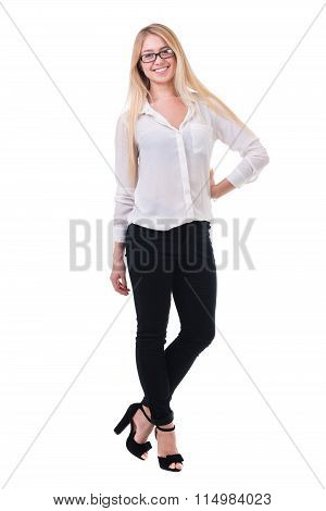 Full length of beautiful blond business woman standing  over white background with copy space