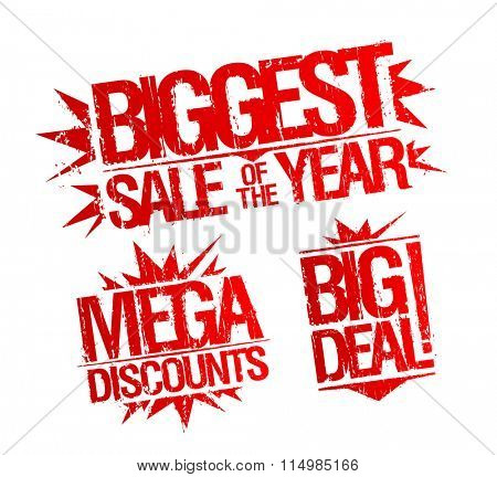 Biggest sale of the year stamp, mega discounts stamp, big deal stamp. Sale vector stamps set. poster