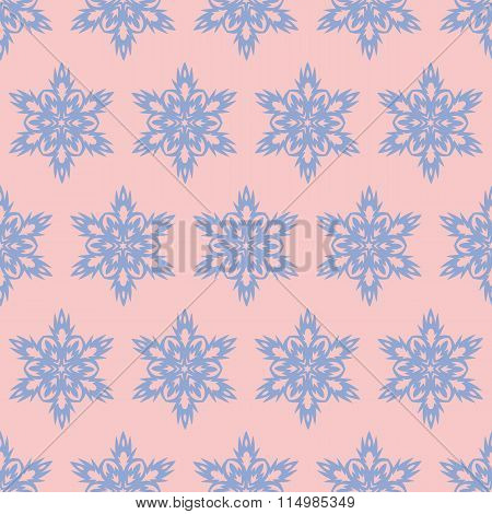 Snowflake seamless.pattern. Christmas background. Rose quarts and serenity colors.