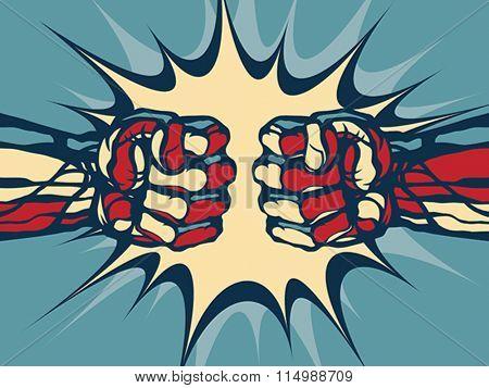 Fist fight - comic style illustration. Vector format EPS 8, CMYK.