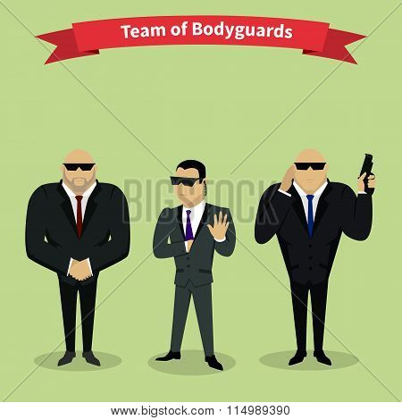Bodyguards Team People Group Flat Style